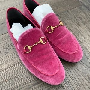 Velvet pink Gucci loafers worn 3 times